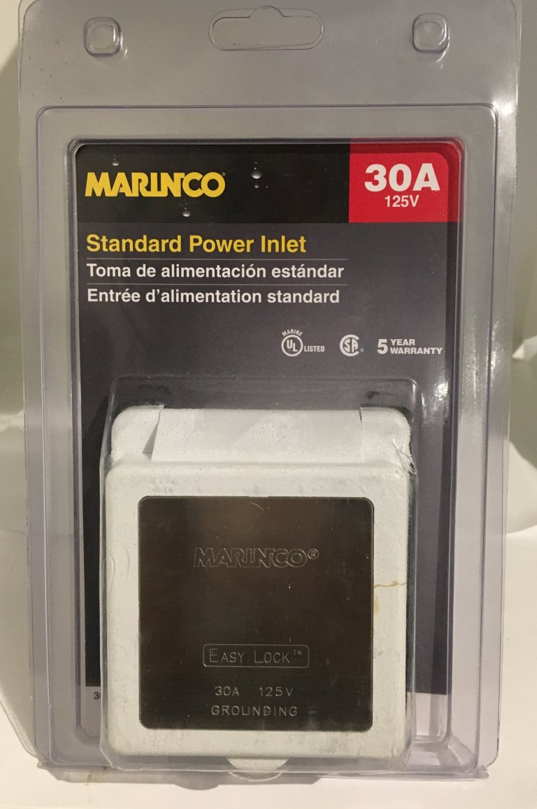Marinco Standard Power Inlet. 30A, 125V (New)