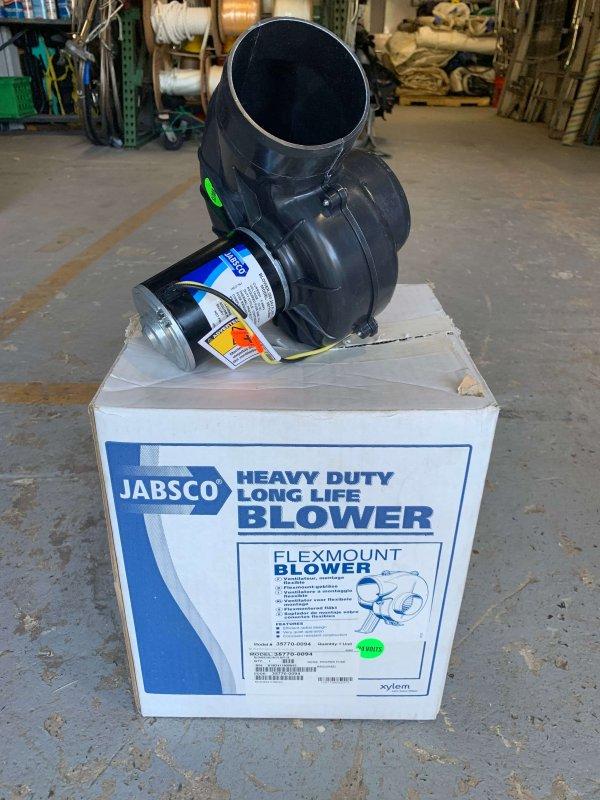 Jabsco Inline Flex mount fan - new in box Part # 35770-0094 12 - 24v